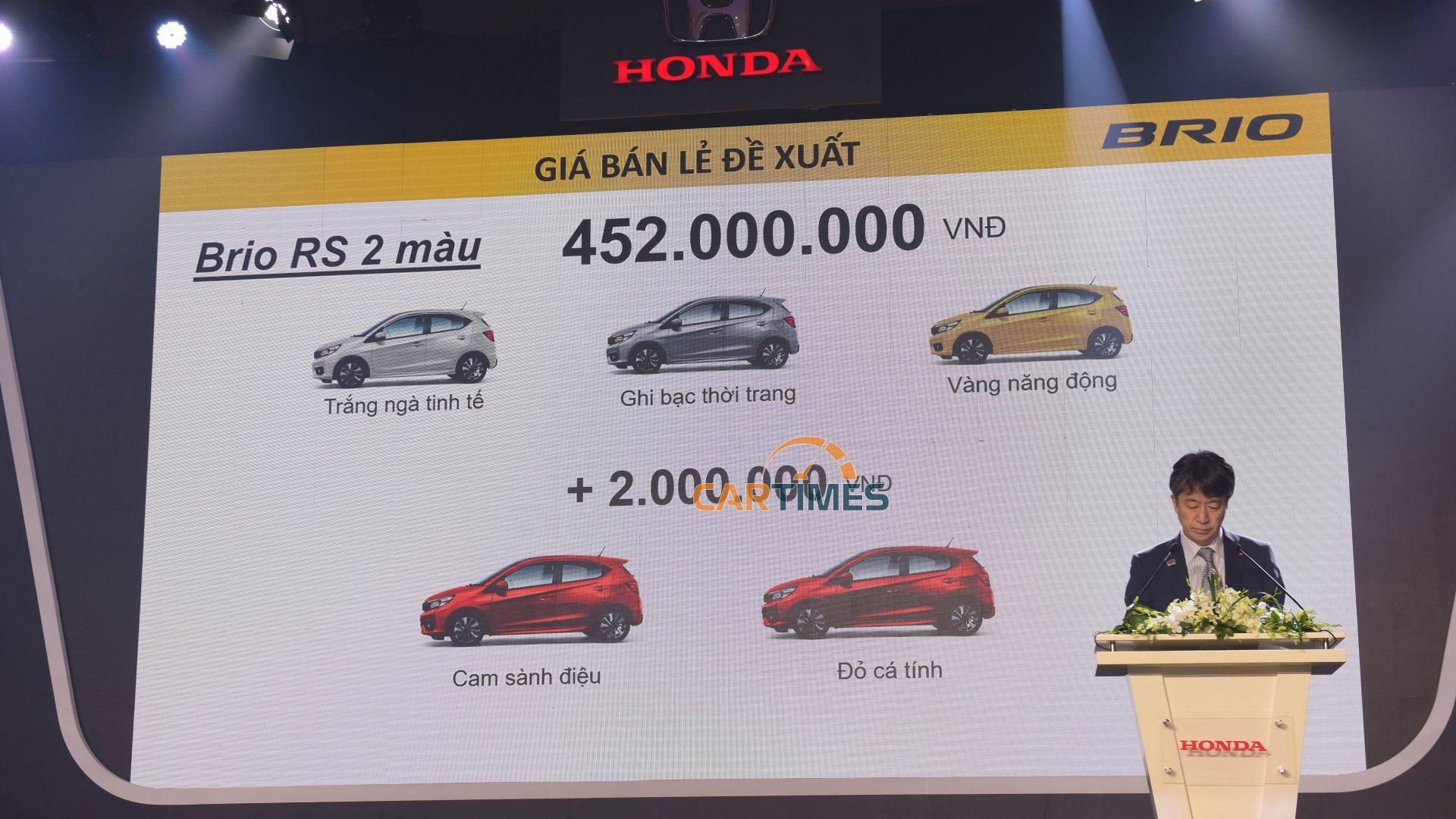 Giá xe Honda Brio phiên bản RS 2 màu